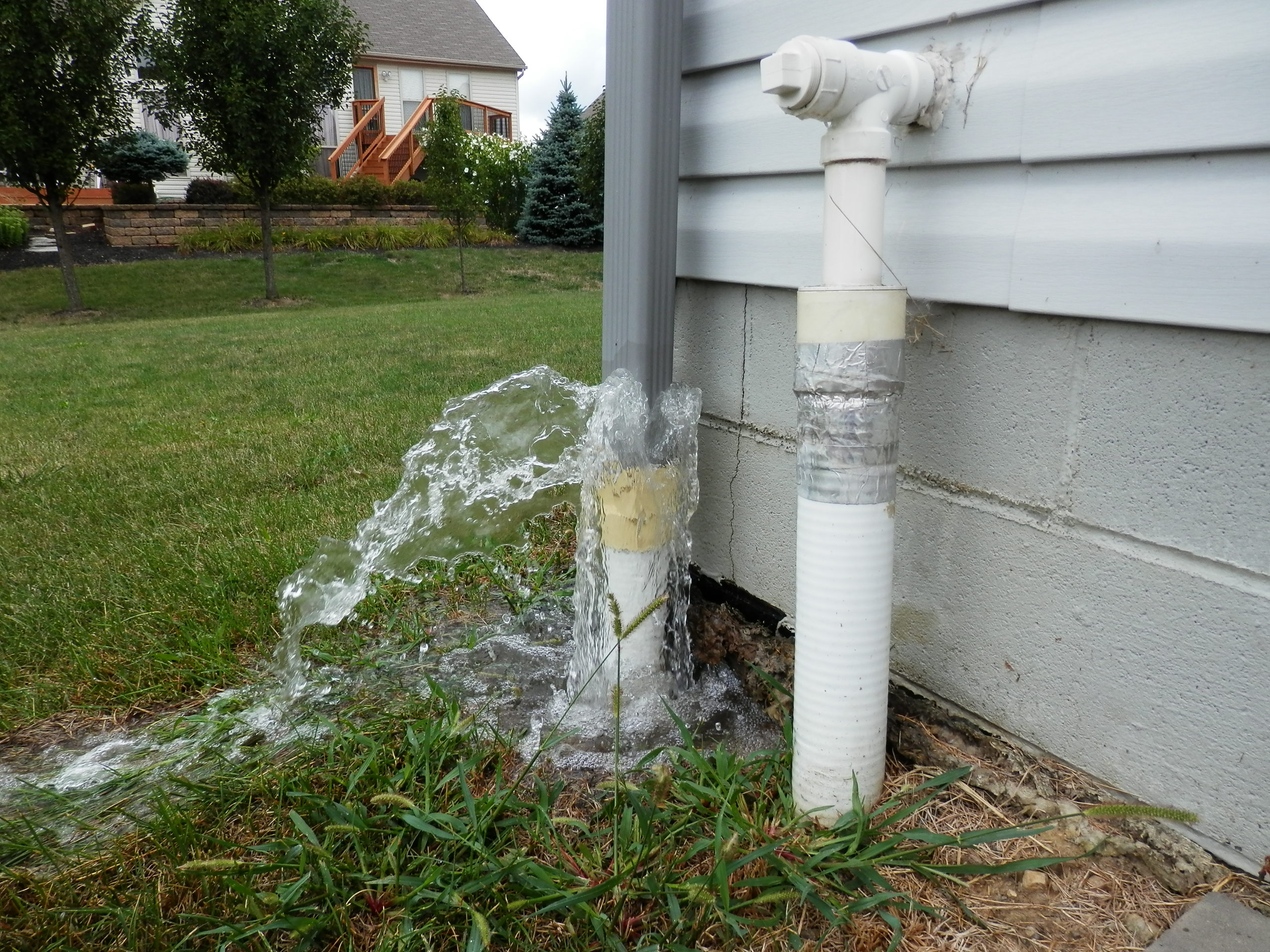 Downspout fountain home inspections in ohio for Downspout drain